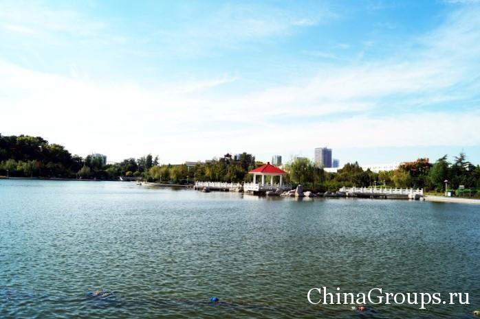 На территории университета озеро
