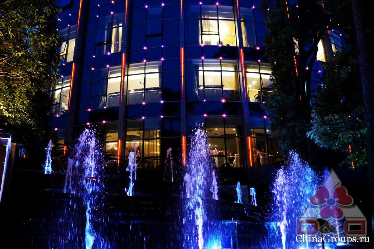 Институт Тунжень фонтан с ночной подсветкой